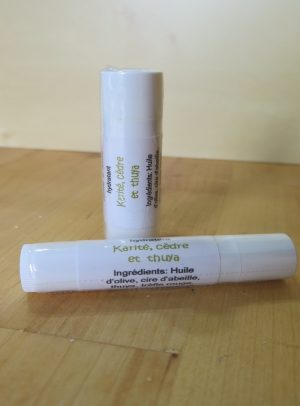 Baume à lèvres Karité, cèdre et thuya